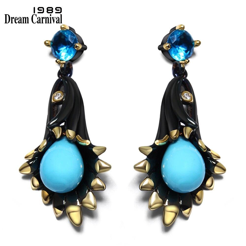 DreamCarnival1989 Chandelier Bell Flower Dangle Earrings for Women Black Gold-Color Spots Blue Tone Stoning Pendientes ZE52799