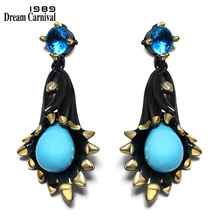 DC1989 Chandelier bell flower Sea blue Dangle earrings Black Gold Plated White Cubic Zirconia Brass earrings for women ZE52799 l k neff the sea bell