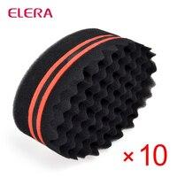 ELERA 10pcs/lot Oval Double Sides Magic twist hair brush sponge,Sponge Brush for Natural,afro coil wave dread brushes Free Ship