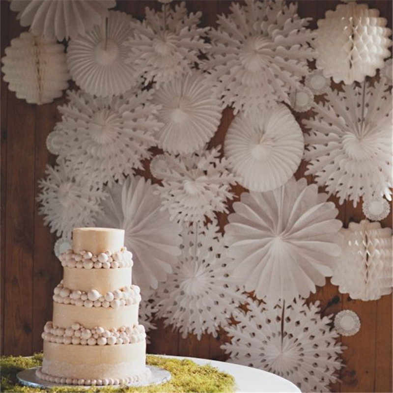 Paper Tissue Snowflake Christmas Decorations By Pearl And: 30cm 5pcs Snowflake Paper Fans Hand For Wedding Flowers