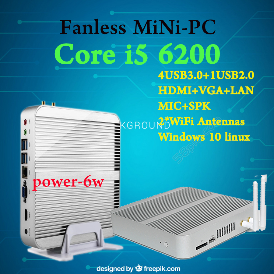 [Intel 6Gen CPU] Hystou Skylake Core i5 6200U Fanless Mini PC Barebone Windows 10 Cheap Small Computer 3-year warranty HTPC 2017 new 6th gen skylake mini pc core i7 6600u 6500u max 3 1ghz intel hd graphics 520 micro computer htpc windows 10 linux