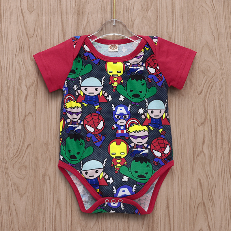 Boys' Baby Clothing Bodysuits Baby Bodysuit Tiny Cottons Red Short Sleeves Cartoon Print Baby Boy Clothes Funny Newborn Boys Jumpsuit Halloween Baby Onesie