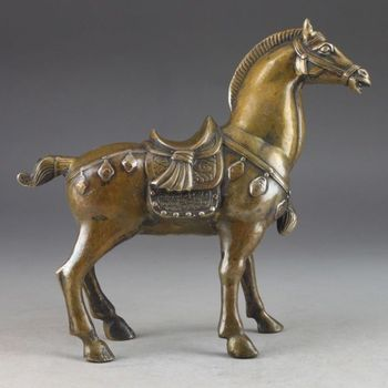 Collectible Decorated Handwork Copper Hammered Steed Statue