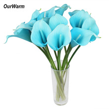 OurWarm 6Pcs/Lot Artificial Calla Lily Latex Real Touch Lilies Fake Flowers Wedding Bridal Bouquet Festive Party Supplies