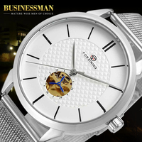 Forsining Design Golden Second Moving Silver Stainless Steel Mens Skeleton Watch