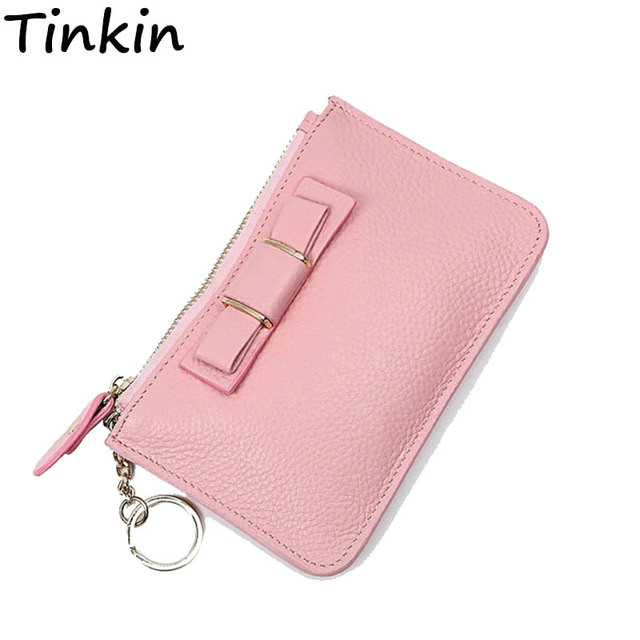 Tinkin Mini Litchi Wallet The Best Mini Coin Case Small Card Holder Brand Daily Day Clutches Bow Zipper Purse Cute Women Wallet