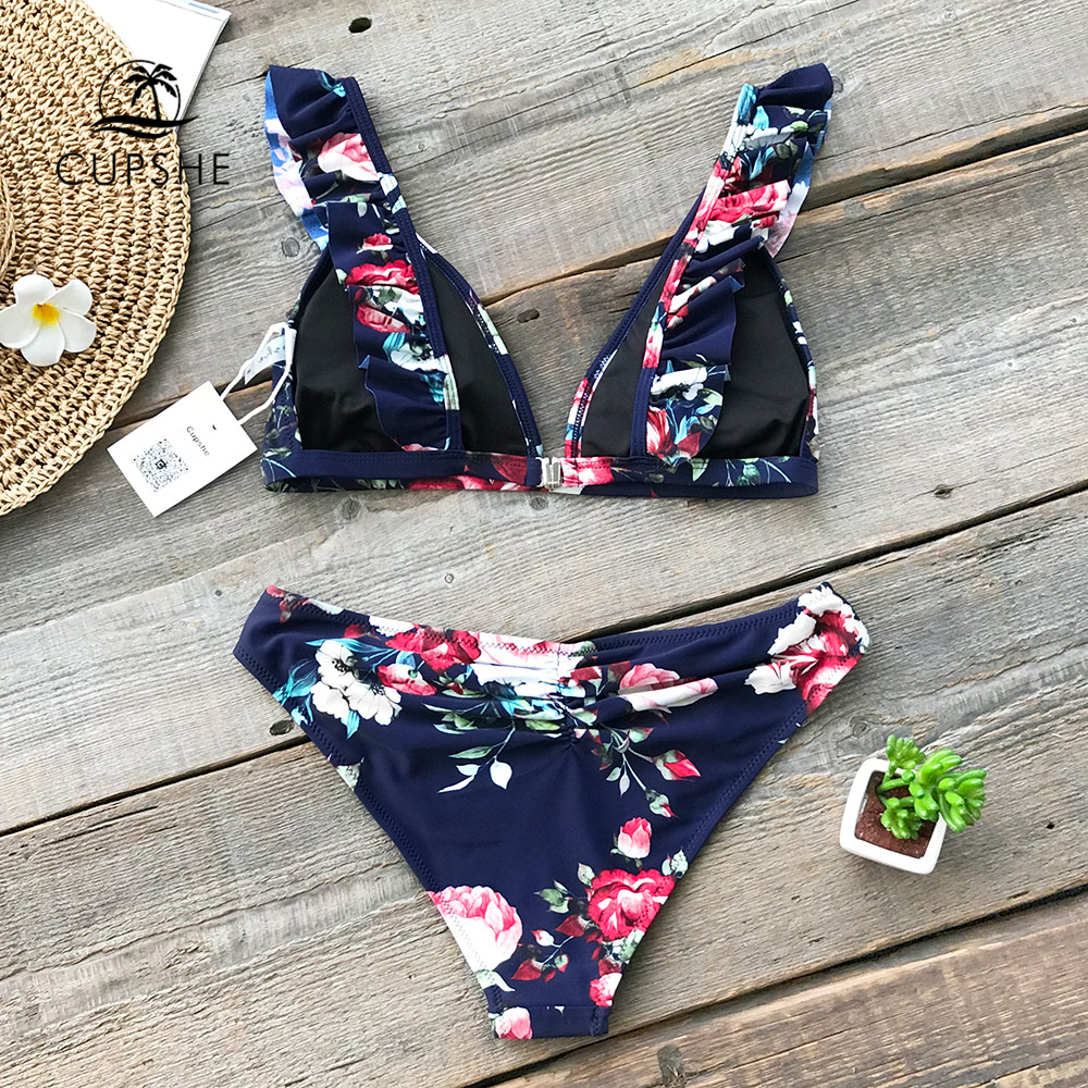 1180cd5e9d1c69 CUPSHE Ruffled Floral Print Bikini Sets Women Sexy Thong Two Pieces  Swimsuits 2019 Girl Cute Bathing Suits Swimwear-in Bikinis Set from Sports  ...