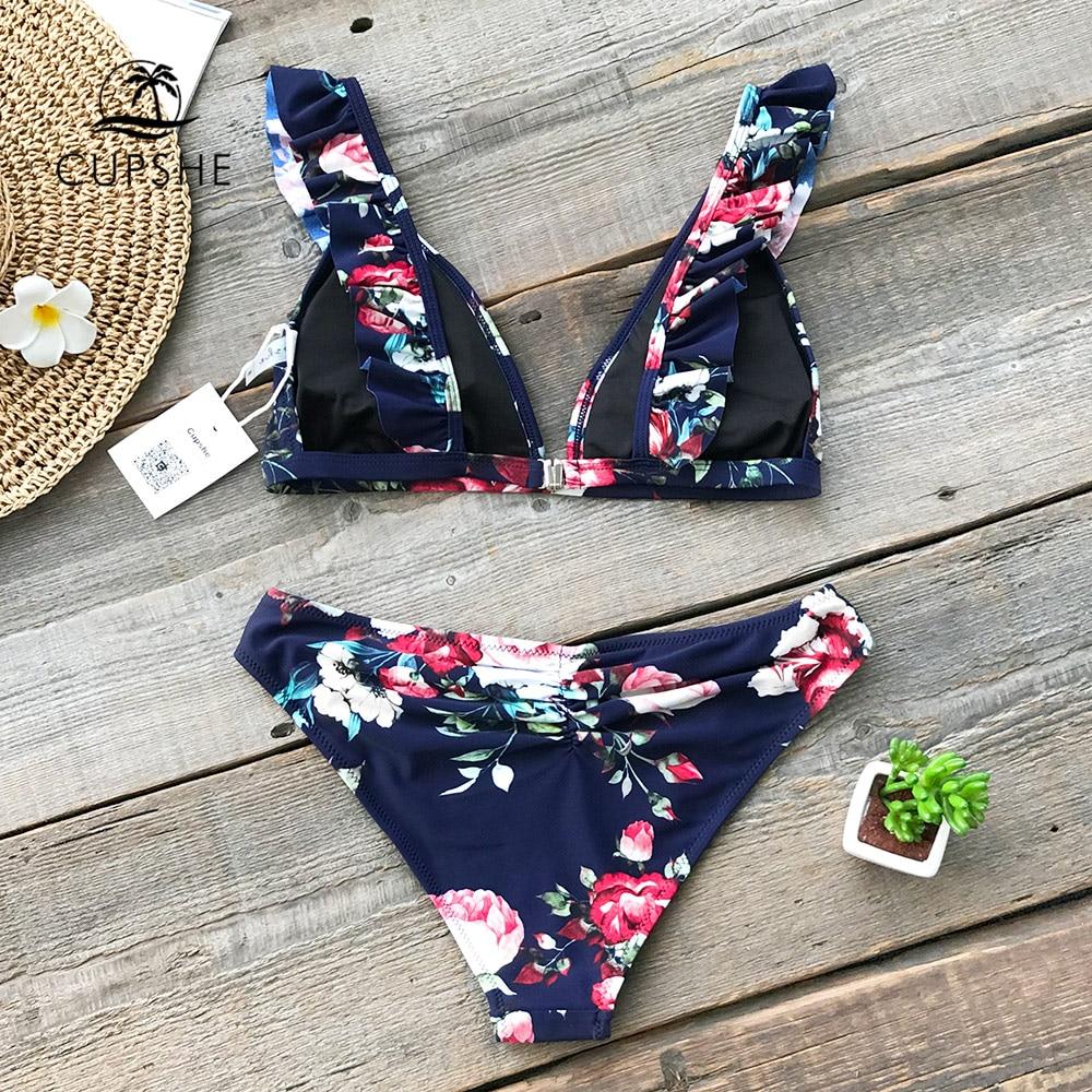 7934957b89f CUPSHE Ruffled Floral Print Bikini Sets Women Sexy Thong Two Pieces  Swimsuits 2019 Girl Cute Bathing Suits Swimwear-in Bikinis Set from Sports  ...
