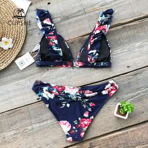 Image 2 - CUPSHE Ruffled Floral Print Bikini Sets Women Sexy Thong Two Pieces Swimsuits 2020 Girl Cute Bathing Suits Swimwear