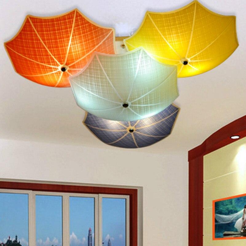 Modern Children Bedroom Ceiling Lamps Multicolour Umbrella Glass Lampshade Kids Room Lights E27 led Lamparas 110v 220v