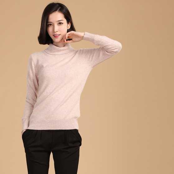 2019 Gugur Musim Dingin Kasmir Sweater Perempuan Pullover Kerah Tinggi Turtleneck Sweater Wanita Warna Solid Wanita Dasar Sweater
