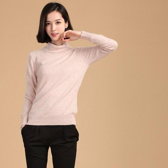 2019 höst vinter cashmere tröja kvinnlig pullover hög krage - Damkläder - Foto 2