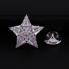 CINDY XIANG cute zircon star collar brooches unisex wedding brooch pin copper material fashion jewelry coat dress accessories