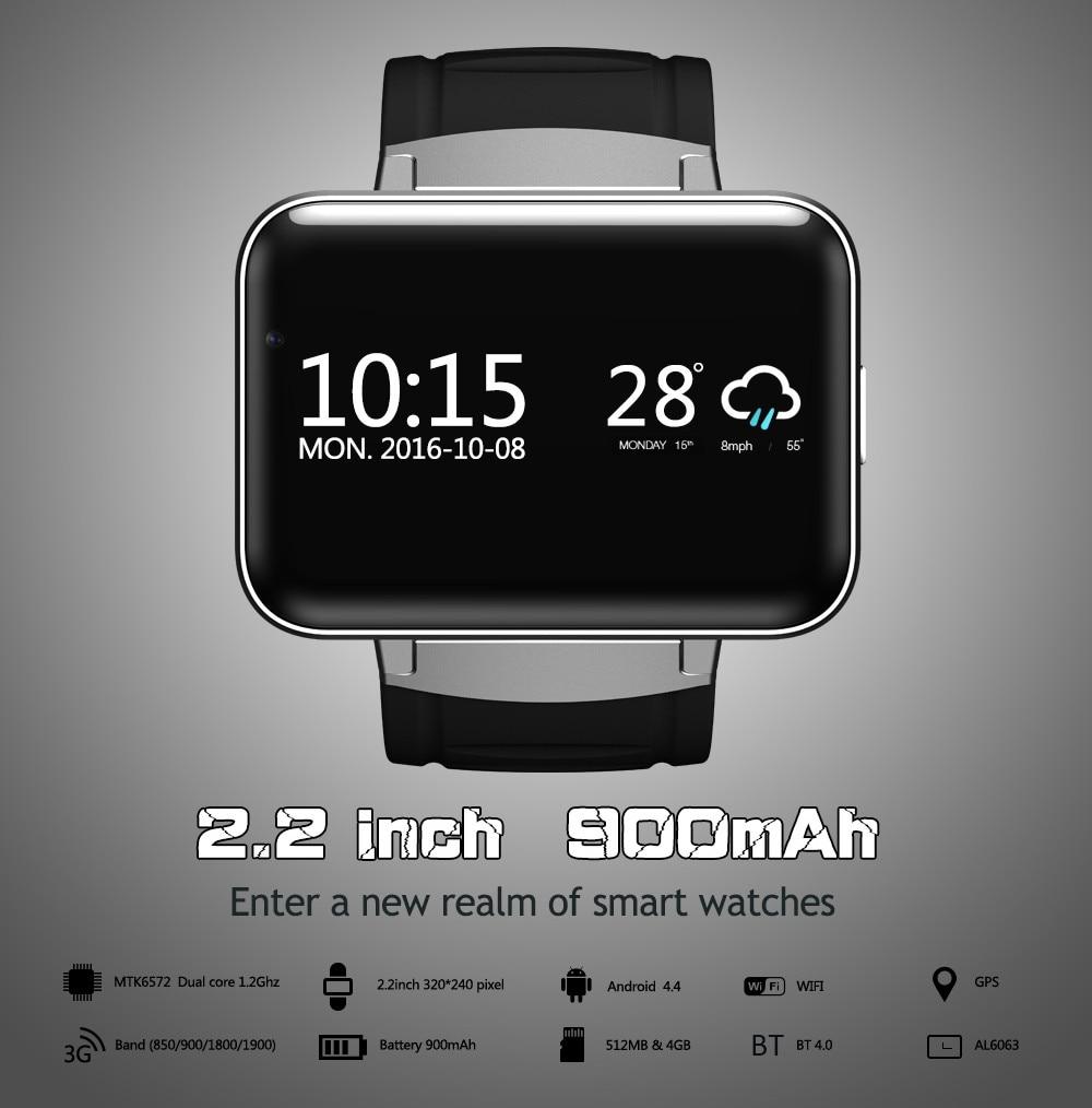 DM98 Smart Horloge MTK6572 2.2 inch Scherm 900mAh Batterij 512MB Ram 4GB Rom Android OS 3G WCDMA GPS WIFI Smartwatch Voorraad - 5