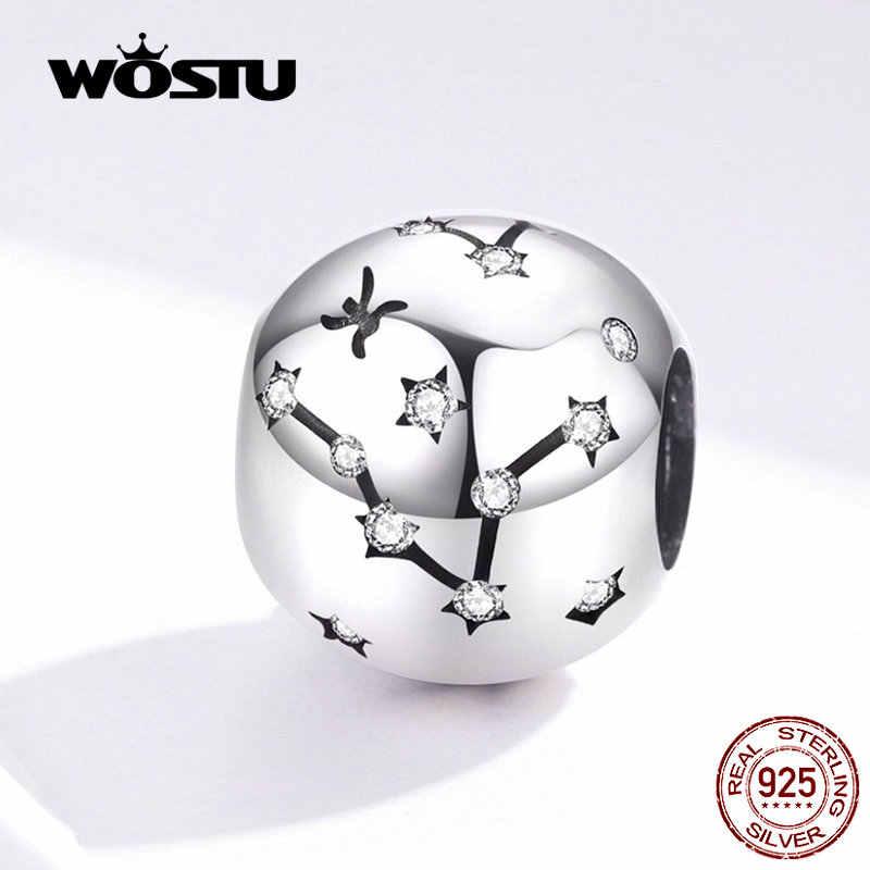WOSTU 12 Созвездие овна бусины 925 стерлингового серебра украшения CZ подходят оригинальные DIY браслет бусины для изготовления ювелирных изделий CQC1218