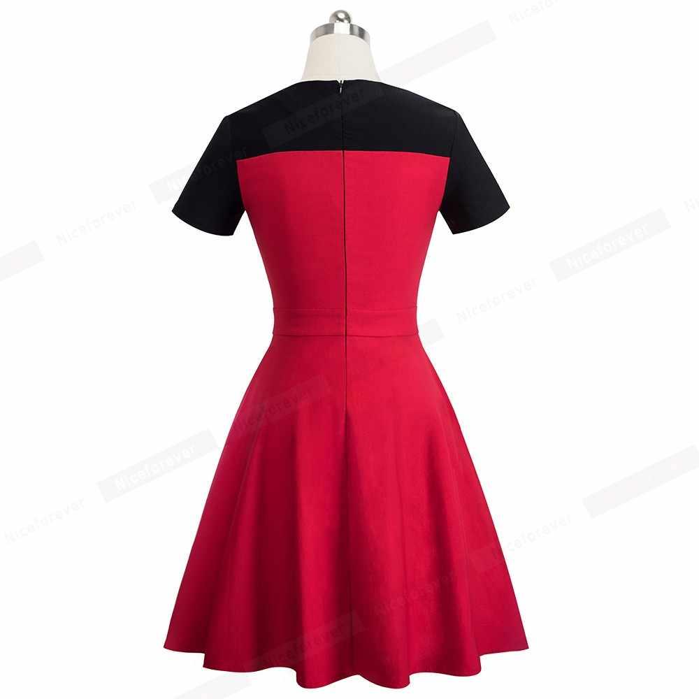 Nice-forever Винтаж элегантное контрастное платье Цвет В лоскутном стиле vestidos платье трапециевидной формы платье пинап с Бизнес Для женщин вечерние Flare свободное платье A088