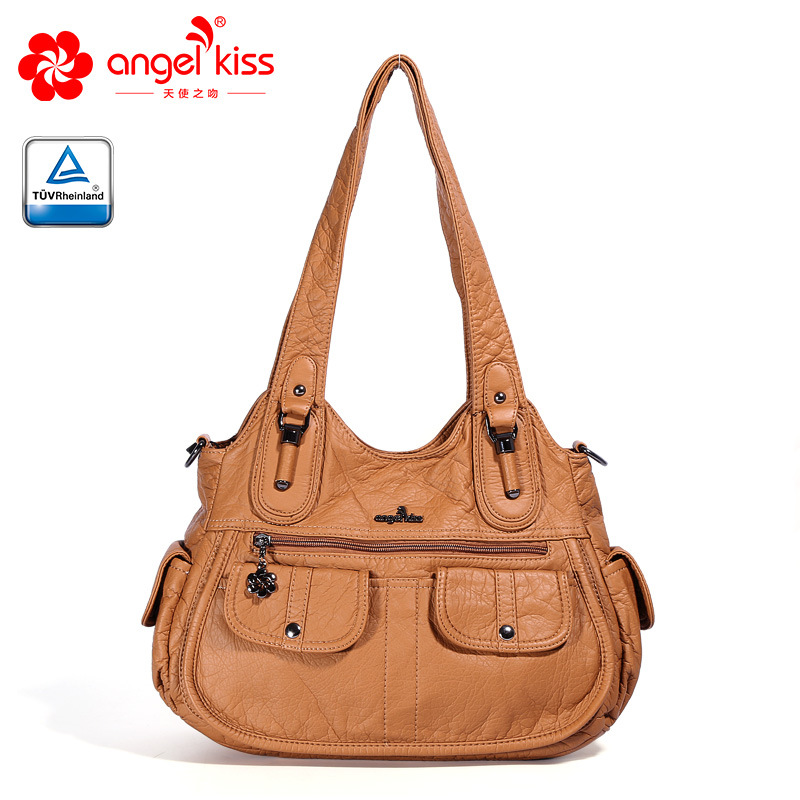 Angelkiss PU Leather Handbags Big Women Bag High Quality Casual Female Bags Trunk Tote Shoulder Bag