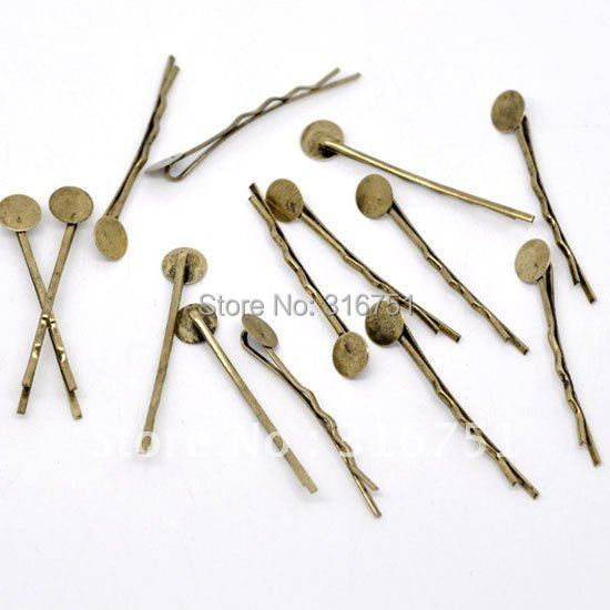Hot Sale Free Shipping 100 Bronze Tone Bobby Pins Hair Clips W/ Glue Pad 44x1.5mm(w01598 X 1) Aa