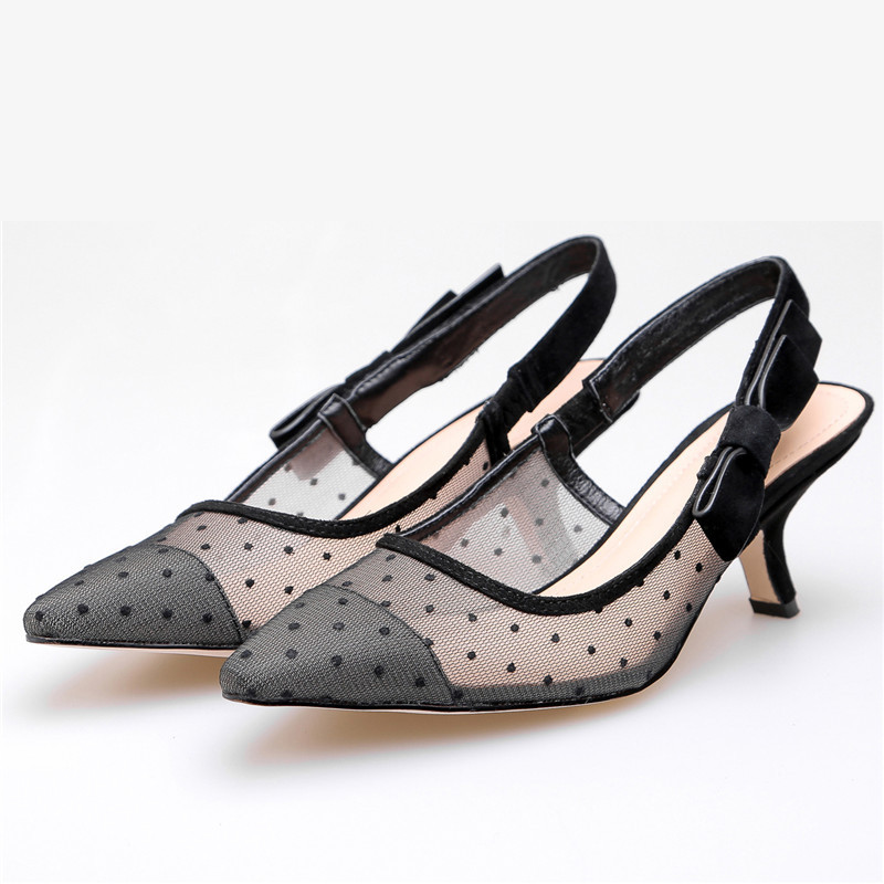 ENMAYER sweet bow tie women slingbacks pumps thin high heeled spring summer ladies shoes slip on pumps polka mesh pumps CR695 in Women 39 s Pumps from Shoes