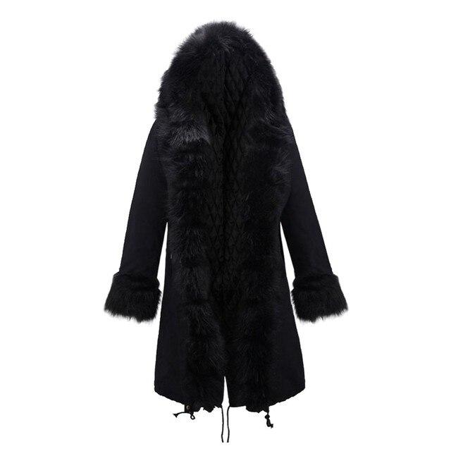 Женщины пальто Зимняя Мода Мех Кролика Большой Лацкане Ватные Верхняя Одежда Хлопка-ватник сплошной черный/эми зеленый размер DM M-XXL #6