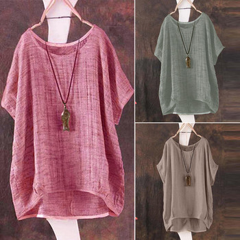 Plus Size S-5L linen bat short-sleeved women's casual loose top thin section shirt Tee shirt pullover Ropa de mujer 3
