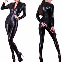 Bán buôn Bán Lẻ Mới Đen Catwoman Costume Faux Leather Catsuit Sexy Erotic Dài Sleeves Front Zipper Catsuit Nhảy Múa Jumpsuit