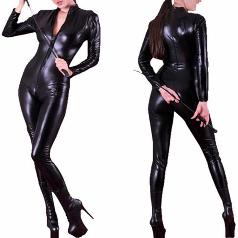 Wholesale Retail New Black Catwoman Costume Faux   Leather   Catsuit Sexy Erotic Long Sleeves Front Zipper Catsuit Dancing Jumpsuit