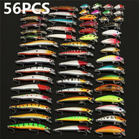56Pcs/lot Almighty Mixed Fishing Lure Bait Set Wobbler Crankbaits Swimbait Minnow Hard Baits Spiners Carp Fishing Tackle