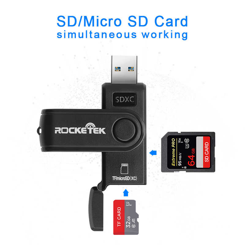Rocketek same time read 2 cards usb 3.0 multi 2 in 1 memory card reader adapter for SD//TF micro SD computer laptop card reader PrinceShop