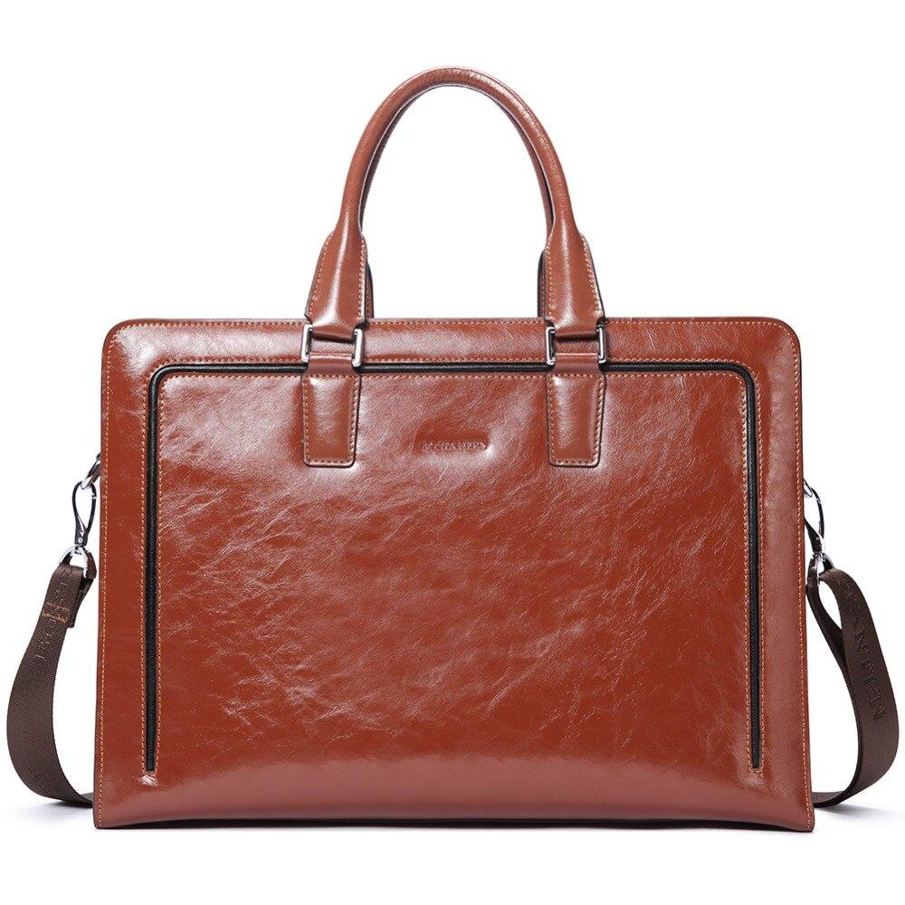 46aa8fdbd028 US $95.0 50% OFF|BOSTANTEN Genuine Leather Briefcase Shoulder 15.6