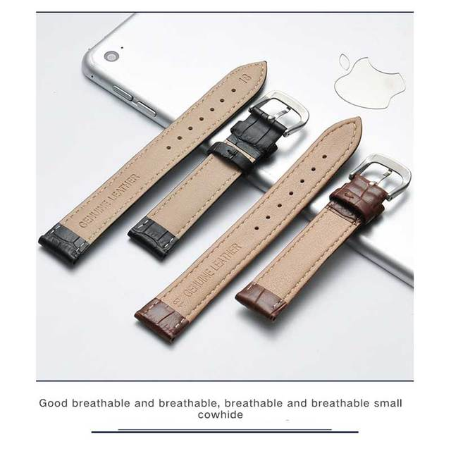 Watch with genuine leather slub leather strap watch, female color strap, pin buckle, single item, watch accessories.
