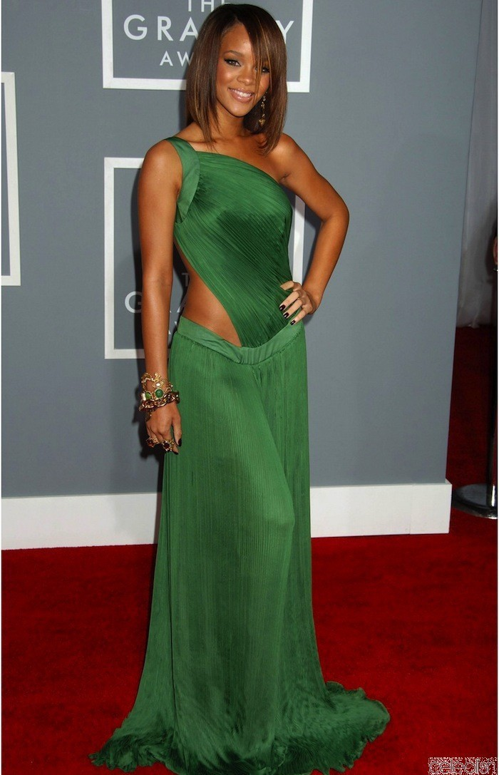 Rihanna red carpet celebrity dresses 2016 sexy one shoulder open back chiffon long green prom - Dresses from the red carpet ...