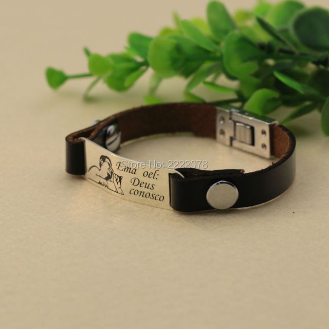 Personalized Name Photo Men Bracelet Stamp Words On Solid Silver Charm Customized Leather