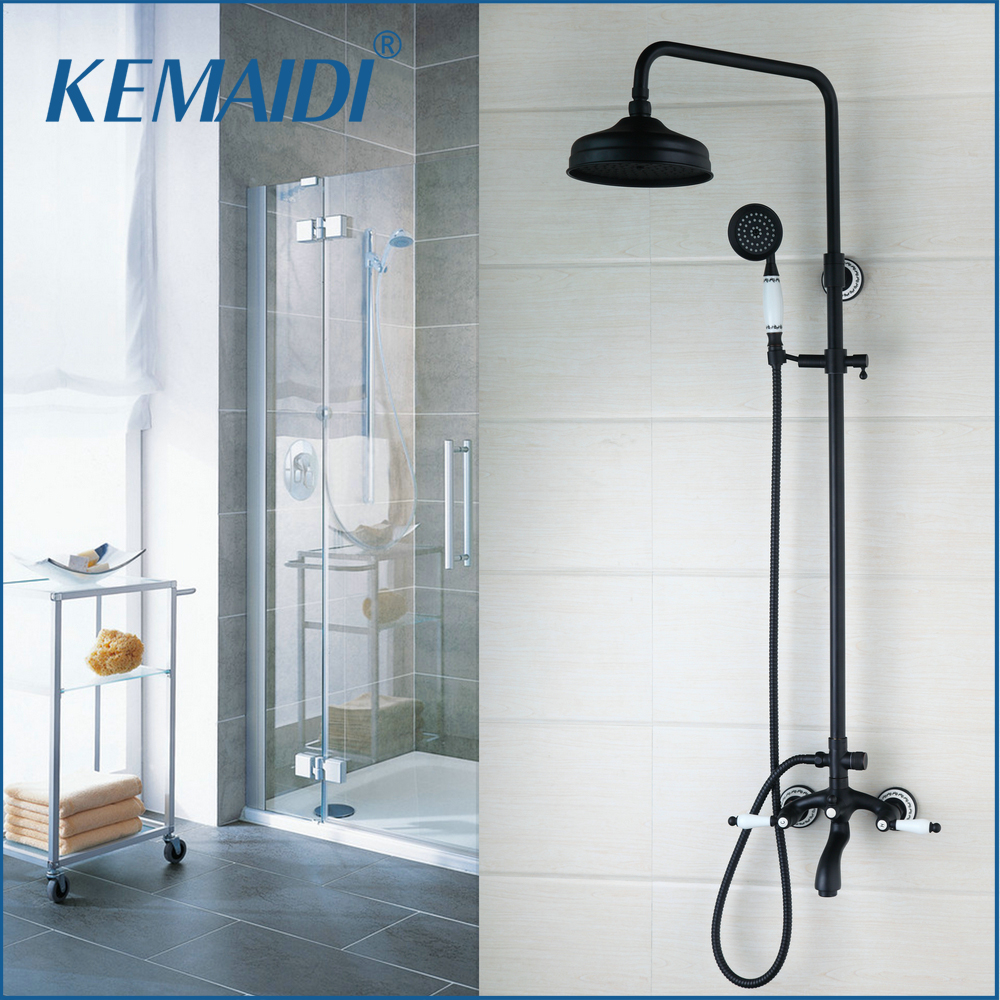 KEMAIDI Oil Rubbed Bronze Rainfall Shower Faucets Set Black 8 Rain Shower Head +Tub Spout +ABS Plastic Handheld Shower