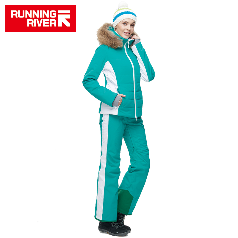RIVIÈRE qui COULE Marque femmes Haute Qualité Ski Veste Hiver Chaud À Capuche Sport Vestes ski En Plein Air Professionnel # N6410O6430