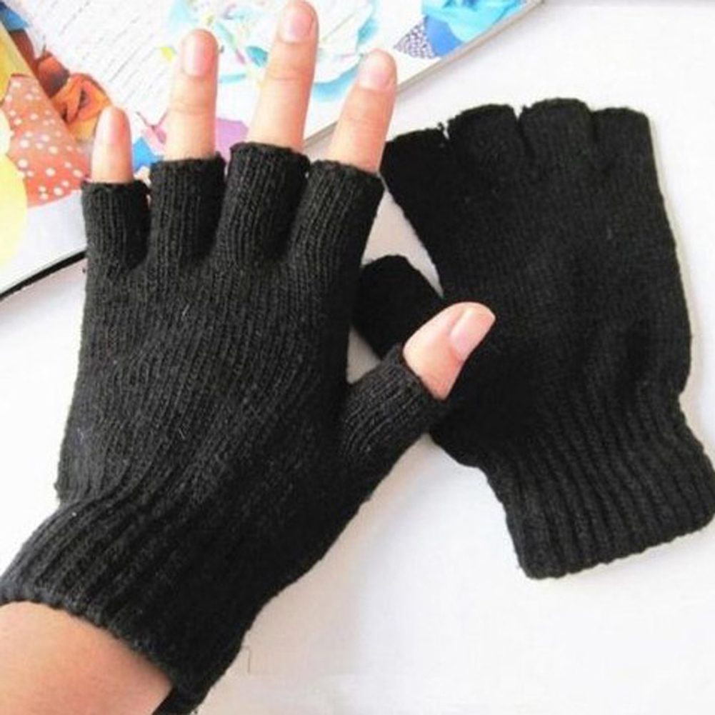 Black Short Half Finger Fingerless Wool Knit Wrist  Glove Winter Warm Workout  For Women And Men