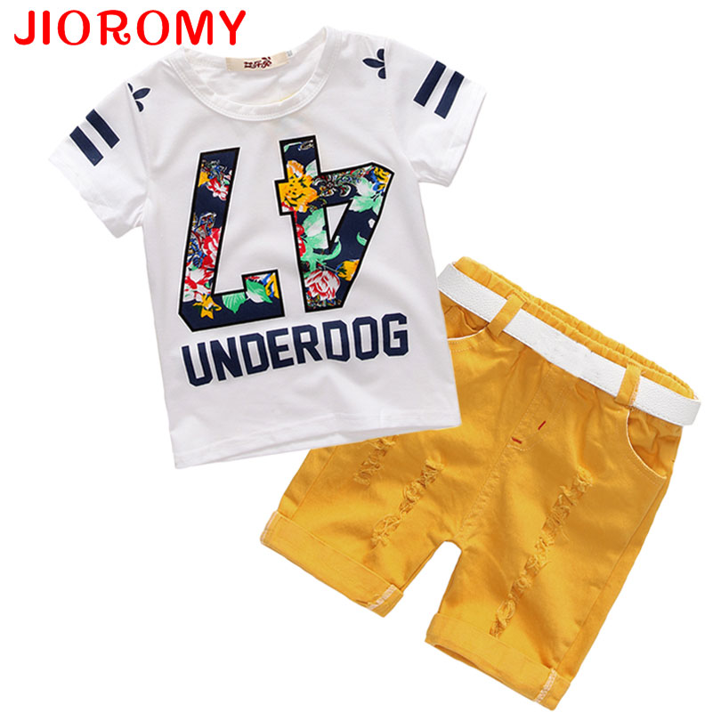 Hot Sale! 2017 Summer Style Children Clothing Sets Tops + Shorts+ Belt =3 Pcs Set Boys Girls T Pants Sports Suit Kids Clothes