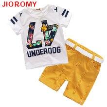 Vente chaude! 2017 Summer Style Enfants Vêtements Ensembles Tops + Shorts + Ceinture = 3 Pcs Ensemble Garçons Filles T Pantalon Sport Costume Enfants vêtements