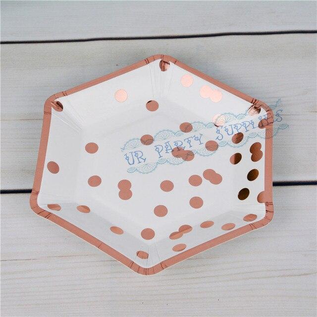 480pcs 7  Foil Rose Confetti Paper Plates Polkadot Birthday New Years Eve Christmas Wedding Cake & 480pcs 7