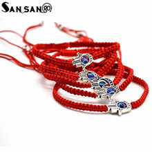 Ethnic Lucky Red Color Braided Rope Chain Bracelet Traditional Handicrafts Enamell Cloisonne Bangle Jewelry For Woman(China)