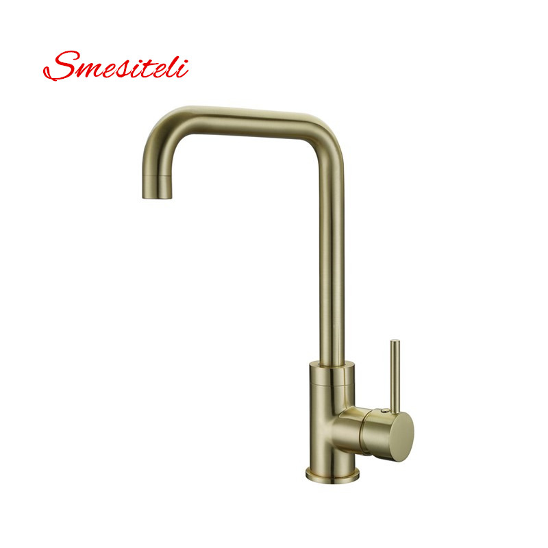 Smesiteli Wholesale High Quality 100% Brass Brushed Gold Finish Kitchen Faucet Hot And Cold Water Faucet Sink Tap