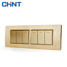 CHINT Electric Lights Switches 118 Type Home Switch NEW5D Four Position Six Gang Two Way Switch chint lighting switches 118 type switch panel new5d steel frame four position six gang two way switch panel