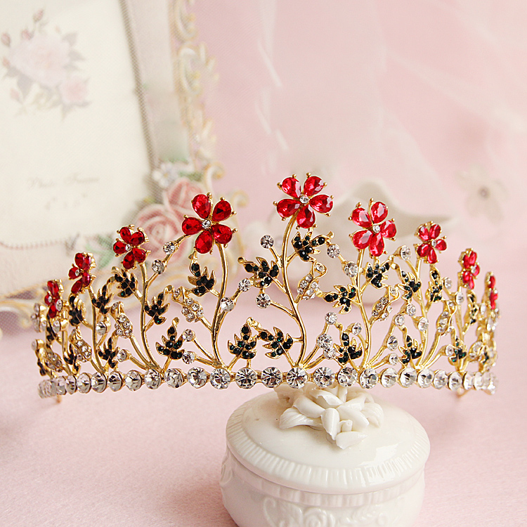 Golden princess bridal crown Retro Baroque crowns women headdress wedding hair accessories birthday gift women red flower tiaras
