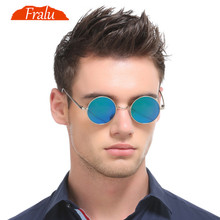 FRALU 2018 Burst metal circular fashion marine lenses red sunglasses men and women personality Prince Mirror UV400