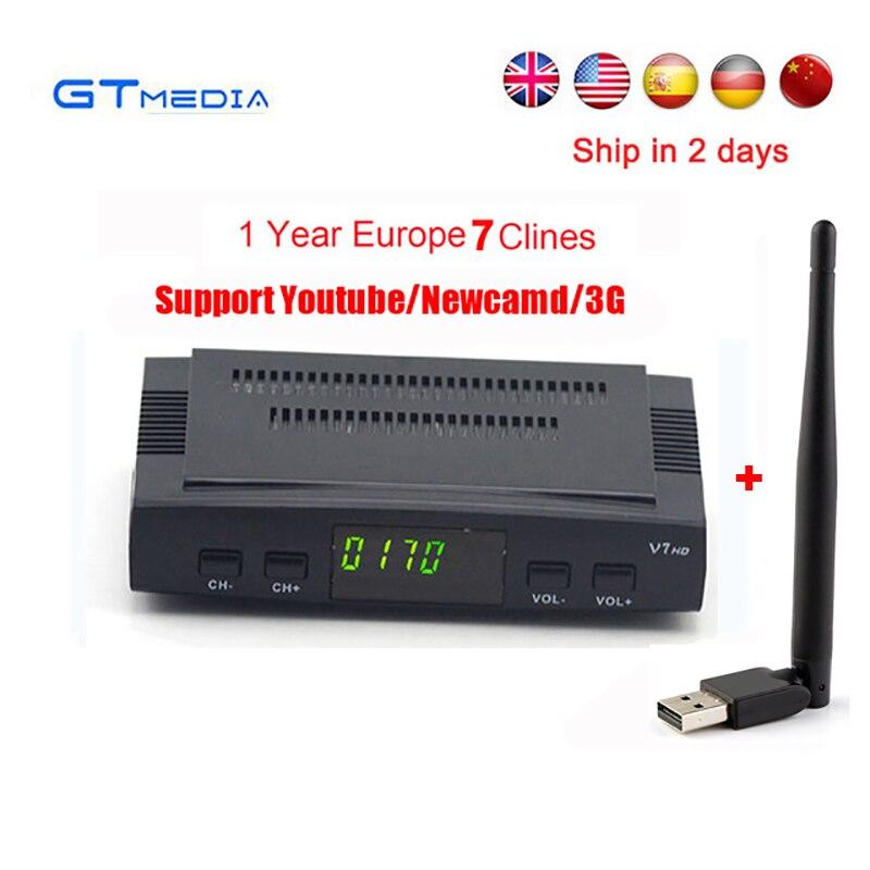 Cline für 1 jahr Europa spanien GTmedia V7 HD Rezeptor DVB-S2 Satellitenfernsehen-empfänger decoder 1080 P + USB WIFI unterstützung powervu youtube