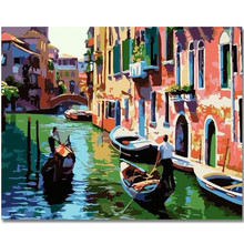 WEEN Digital Diy oil painting by numbers, wall decor on canvas, coloring paint numbers for adults 40X50cm-Water City Boat