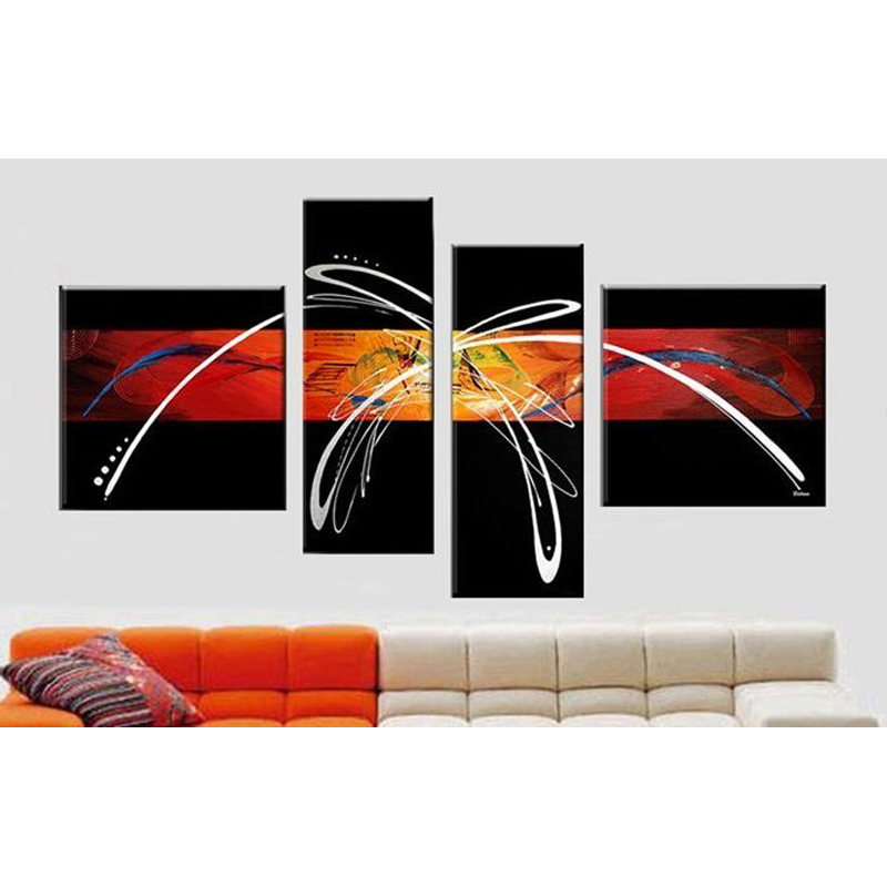 Модульная картина настенные картины Ручная роспись холст картины маслом абстрактные красные черные настенные картины для гостиной 4p