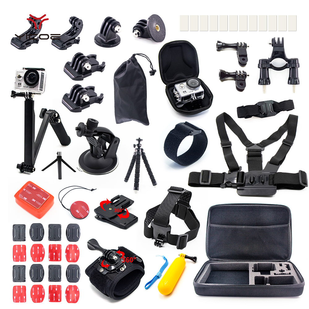 for Gopro Go Pro Hero Session 6 5 4 3+ EKEN H9 SJCAM SJ4000 SJ6 SJ7 Xiaomi yi 4k Accessories Kit Case Tripod Strap Mount Stick for gopro hero 4 accessories flat curved adhesive mount base with vhb for gopro hero 5 4 3 session sjcam sj4000 sj6000 h9 kits