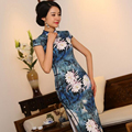 S-3XL Chinese Womens Silk Cheongsam Vintage Floral Long Qipao China Oriental Dresses Mother Traditional National Wind Cheongsams