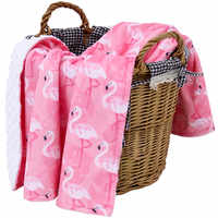 Muslinlife New Luxury Minky Dot Blanket Soft Warm Winter Swaddle Baby Blanket 2 Layers Flannel Blanket Flamingo 70*100cm